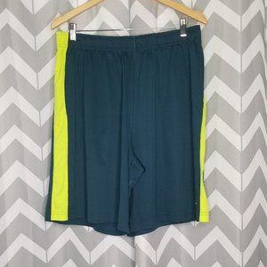 NIKE DRI FIT turquoise & yellow basketball shorts